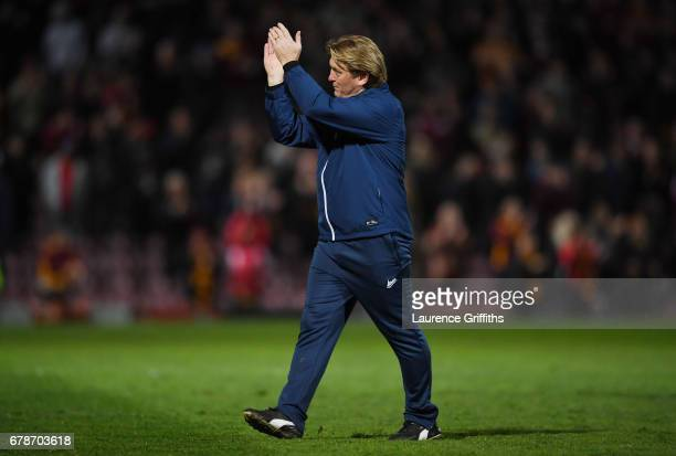 Stuart McCall the manager of Bradford City applauds the crowd after the Sky Bet League One playoff semi final first leg match between Bradford City...