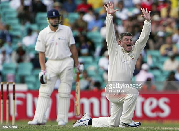 Stuart McGill of Australia appeals unsuccessfully for the wicket of Andrew Flintoff of the World XI during day two of the Johnnie Walker Super Series...