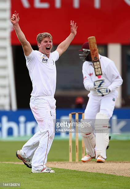Stuart Meaker of England Lions appeals unsuccesfully for the wicket of Shane Shillingford of West Indies during day one of the tour match between...