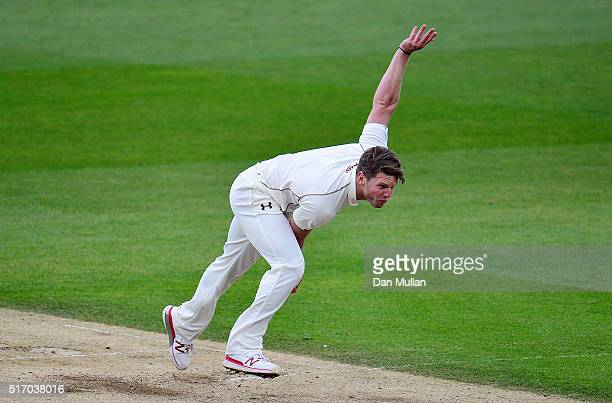 Stuart Meaker of Surrey bowls during day two of the preseason friendly between Surrey and Middlesex at The Kia Oval on March 23 2016 in London England