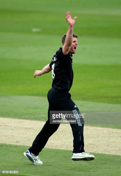 Stuart Meaker of Surrey celebrates dimissing Adam Voges of Middlesex during the Royal London OneDay Cup match between Surrey and Middlesex at The Kia...