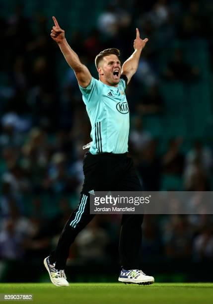 Stuart Meaker of Surrey celebrates dismissing Adam Hose of Birmingham during the NatWest T20 Blast QuarterFinal between Surrey and Birmingham Bears...