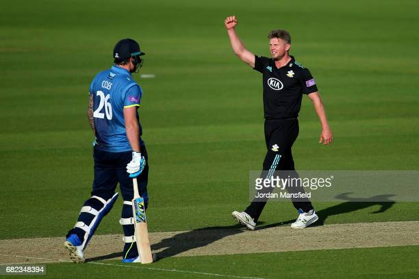 Stuart Meaker of Surrey celebrates dismissing Matt Coles of Kent during the Royal London OneDay Cup match between Surrey and Kent at The Kia Oval on...