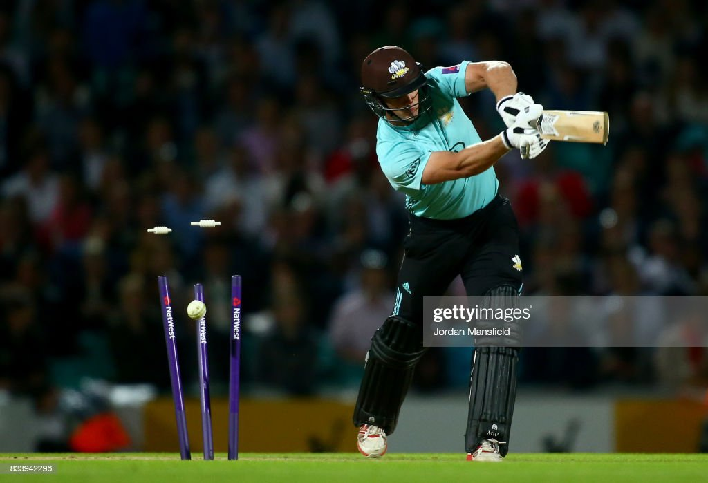 Stuart Meaker of Surrey is bowled out by David Payne of Gloucestershire during the NatWest T20 Blast match between Surrey and Gloucestershire at The Kia Oval on August 17, 2017 in London, England.