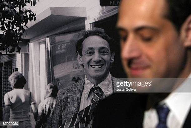Stuart Milk the nephew of the late gay activist Harvey Milk sits next to a photograph of his uncle after a press conference announcing legislation to...