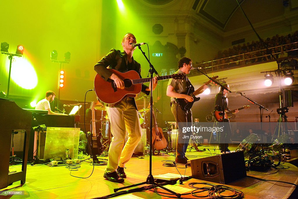 Stuart Murdoch and Stevie Jackson of Belle and Sebastian perform live on stage at Central Hall Westminster on May 11 2015 in London United Kingdom