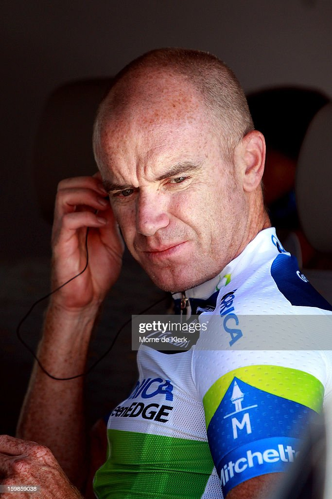 <a gi-track='captionPersonalityLinkClicked' href=/galleries/search?phrase=Stuart+O%27Grady&family=editorial&specificpeople=217340 ng-click='$event.stopPropagation()'>Stuart O'Grady</a> of Australia and team Orica GreenEDGE prepares before stage 1 of the Tour Down Under bicycle race between Prospect and Lobethal in the Adelaide Hills on January 22, 2013 in Adelaide, Australia.