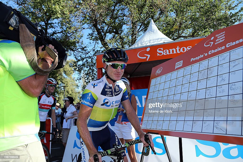 Stuart O'Grady of Australia and team Orica Greenedge signs on before the People's Choice Classic race of the Tour Down Under on January 20, 2013 in Adelaide, Australia.