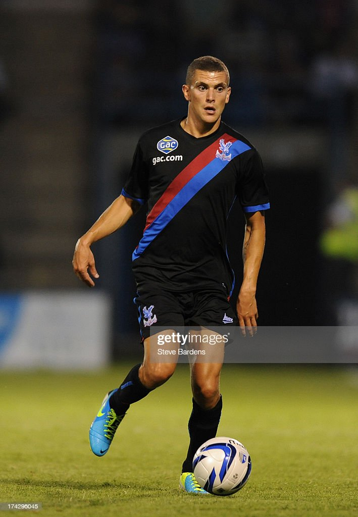 Stuart O'Keefe of Crystal Palace in action during the pre season friendly match between Gillingham and Crystal Palace at Priestfield Stadium on July 23, 2013 in Gillingham, Medway.