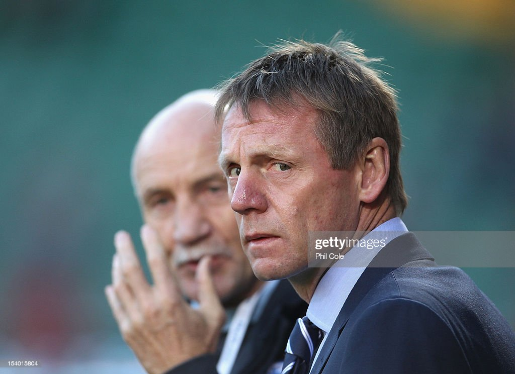 Stuart Pearce Manager of England U21 looks on during the Under 21 European Championship Play Off between England U21 and Serbia U21 at Carrow Road on October 12, 2012 in Norwich, England.