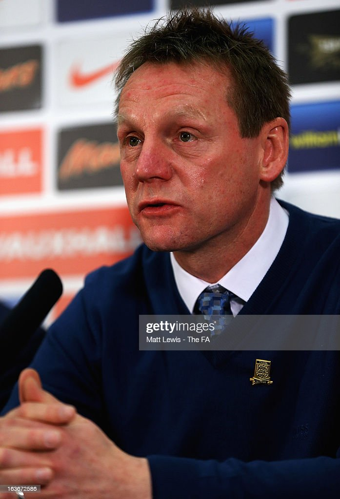 <a gi-track='captionPersonalityLinkClicked' href=/galleries/search?phrase=Stuart+Pearce+-+Soccer+Coach&family=editorial&specificpeople=213348 ng-click='$event.stopPropagation()'>Stuart Pearce</a>, manager of England U21's announces his England squad ahead of the World Cup qualifiers against Romania and Austria at Wembley Stadium on March 14, 2013 in London, England.