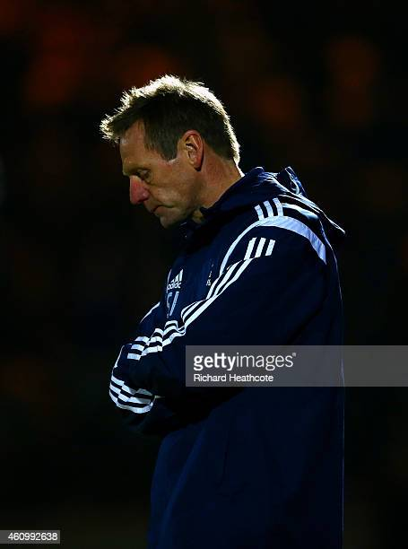 Stuart Pearce manager of Nottingham Forest reacts during the FA Cup Third Round match between Rochdale and Nottingham Forest at Spotland Stadium on...