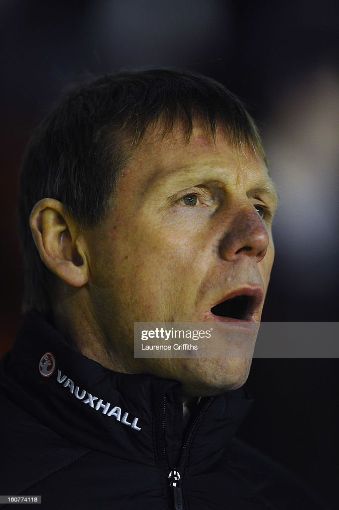 Stuart Pearce of England sings the national anthem during the U-21 International match between England U-21 and Sweden U-21 at Banks' Stadium on February 5, 2013 in Walsall, England.