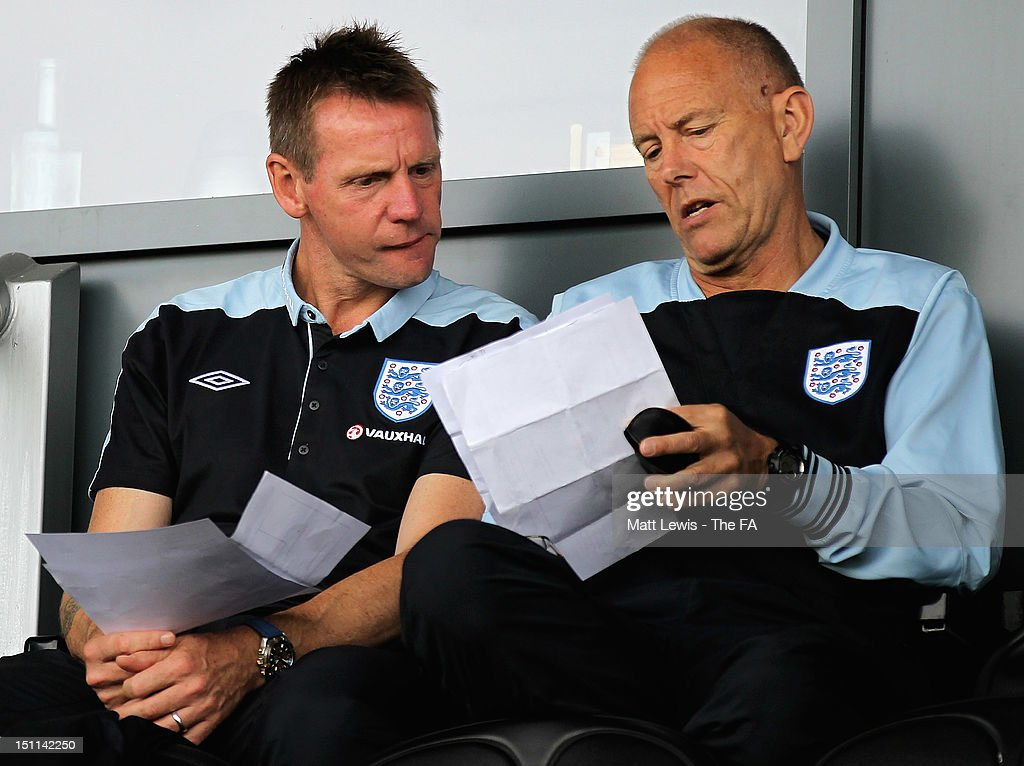 Stuart Pearce of England watches from the stands during the match between England U17 and Portugal U17 at Pirelli Stadium on September 2, 2012 in Burton-upon-Trent, England.
