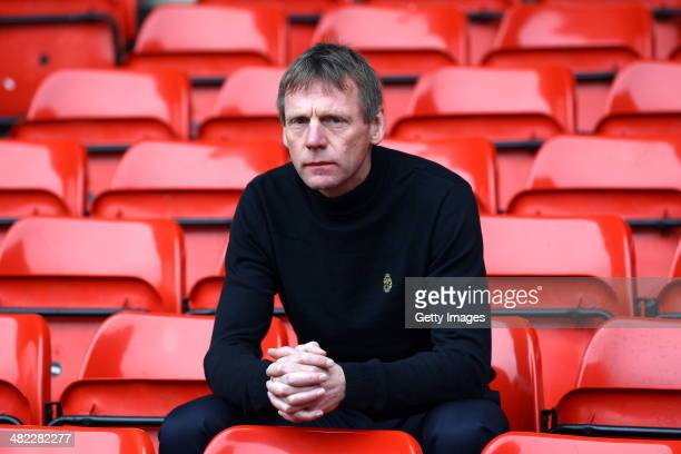 Stuart Pearce sits in the main stand after being unveiled as the new Nottingham Forest Manager at the City Ground on April 03 2014 in Nottingham...