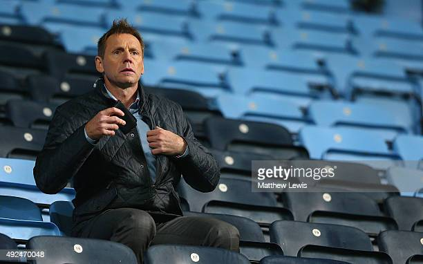 Stuart Pearce watches from the stands during the European Under 21 Qualifier match between England U21 and Kazakhstan U21 at Ricoh Arena on October...