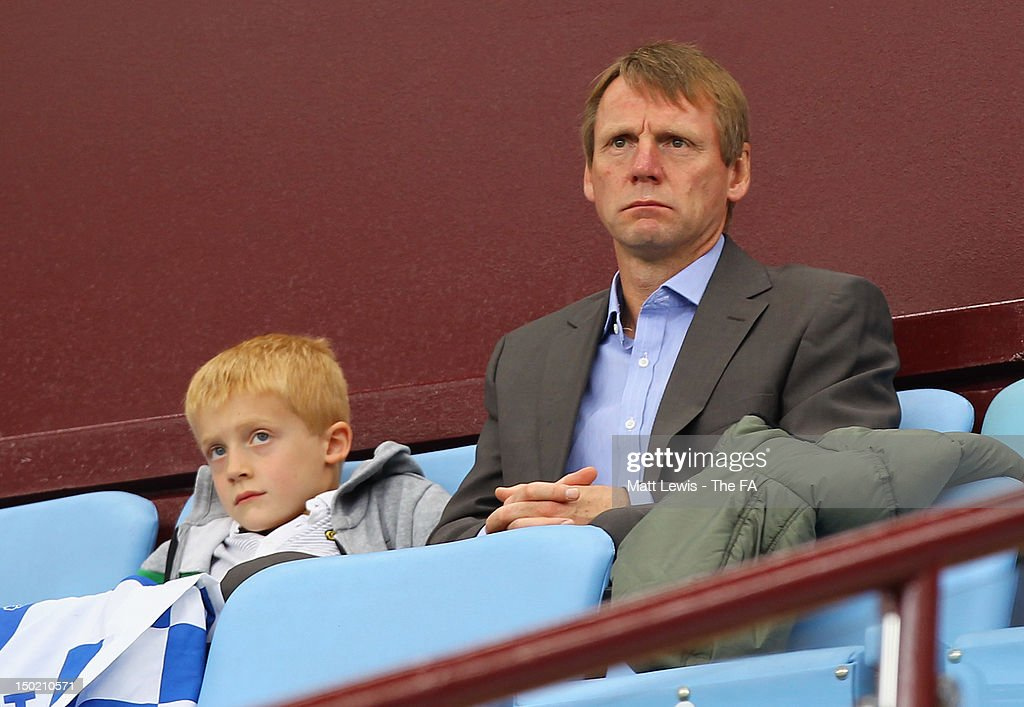 Stuart Pearce watches from the stands during the FA Community Shield match between Manchester City and Chelsea at Villa Park on August 12, 2012 in Birmingham, England.