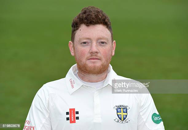 Stuart Poynter of Durham poses for a photograph during the Durham County Cricket Club photocall at the Riverside on April 8 2016 in ChesterLeStreet...