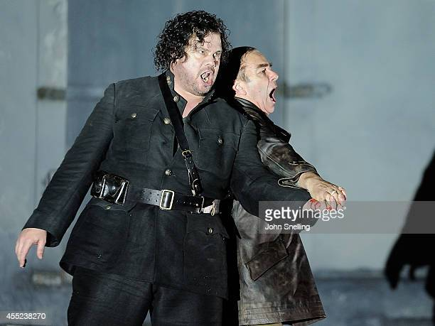 Stuart Skelton plays Otello Johnathan Summers plays Iago The English National Opera perform 'Othello' at London Coliseum on September 10 2014 in...