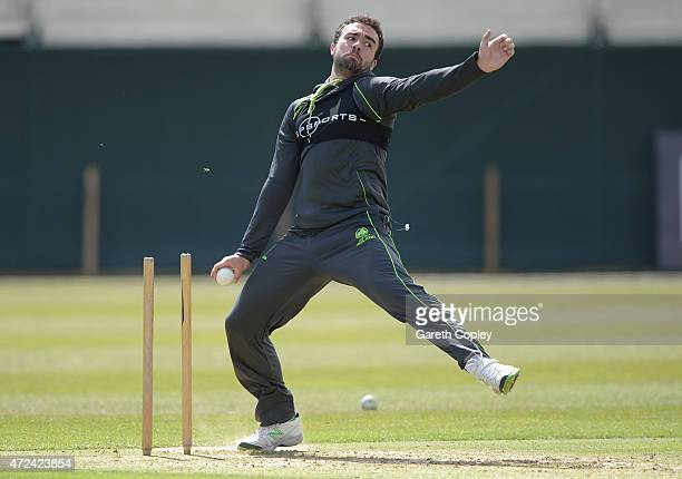 Stuart Thompson of Ireland bowls during a nets session on May 7 2015 in Malahide Ireland