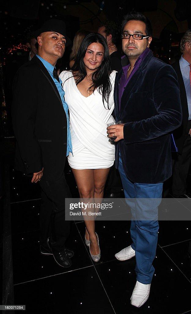 Stuart Watts, Kiran Sharma and Paul Sagoo attend The Feeling performance at the 50th Birthday Celebration of Annabel's Nightclub on September 27, 2013 in London, England.
