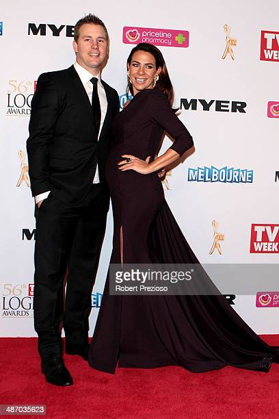 Stuart Webb and Kate Ritchie arrive at the 2014 Logie Awards at Crown Palladium on April 27 2014 in Melbourne Australia
