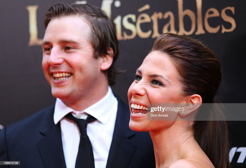 Stuart Webb and <a gi-track='captionPersonalityLinkClicked' href=/galleries/search?phrase=Kate+Ritchie&family=editorial&specificpeople=213367 ng-click='$event.stopPropagation()'>Kate Ritchie</a> pose during the Australian premiere of 'Les Miserables' at the State Theatre on December 21, 2012 in Sydney, Australia.