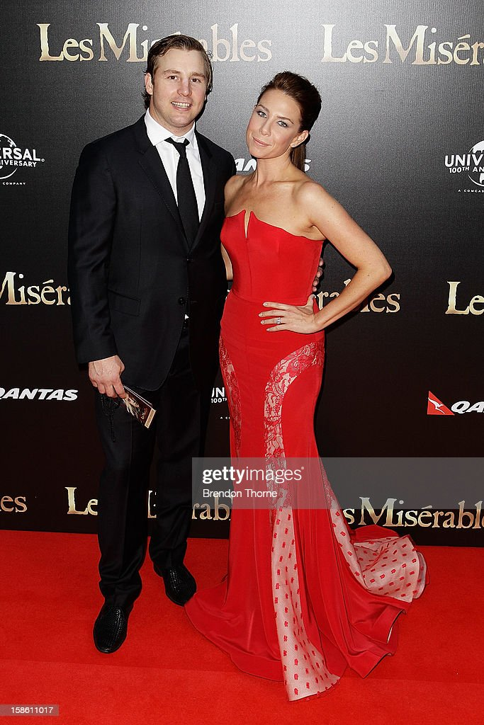 Stuart Webb and Kate Ritchie walk the red carpet during the Australian premiere of 'Les Miserables' at the State Theatre on December 21, 2012 in Sydney, Australia.