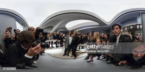 Stuart Weitzman and Kate Moss attend the Kate Moss Celebrates Stuart Weitzman Flagship Store Opening Designed By Zaha Hadid as a part of Milan...
