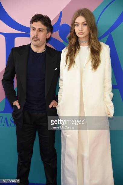 Stuart Weitzman Creative Director Giovanni Morelli and Gigi Hadid attend the 2017 CFDA Fashion Awards at Hammerstein Ballroom on June 5 2017 in New...