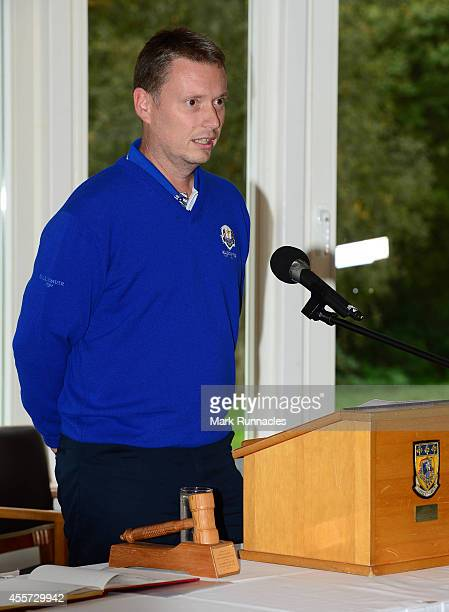 Stuart Wilson captain of Team Europe speaks at a Welcome reception by Blairgowrie and Perth Kinross Council at Blairgowrie Golf Course during the...
