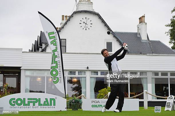 Stuart Wilson of Portlethen Golf Club tee shot to the 1st during the PGA ProCaptain Scotland Qualifier at Haggs Castle Golf Club on August 12 2016 in...