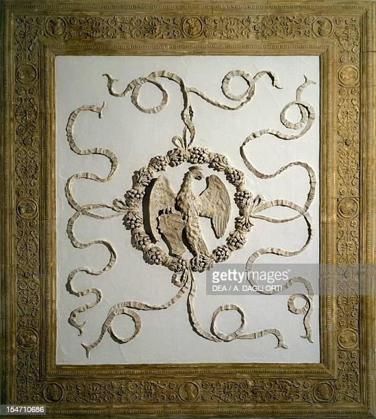 Stucco ceiling in the Duchess' bedroom Ducal Palace Urbino Marche Detail Italy 15th century