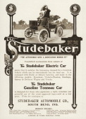 A Studebaker automobile is shown in a magazine advertisement from 1904 The ad describes both electric and gasoline cars