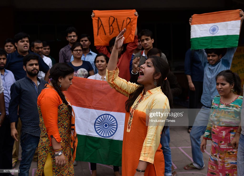 JNU student ABVP wing workers shouting slogans as they were sitting on an indefinite strike demanding the stringent punishment against students in connection with the February 9 incident on May 3, 2016 in New Delhi, India. Representatives of both factions are sitting on a hunger strike. Students with Left affiliations are on a hunger strike protesting punishment given to them by the university authorities for the February 9 event held to commemorate Parliament attack convict Afzal Guru. Anti-national slogans were allegedly raised at the event. Students of the ABVP faction are on a hunger strike demanding the punishment against students be made more stringent.