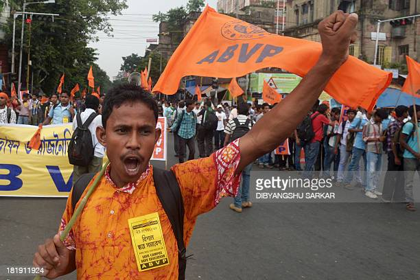 A student activist of Akhil Bharatiya Vidyarthi Parishad the student wing of the Hindu nationalist organization Rashtriya Swayamsevak Sangh shouts...