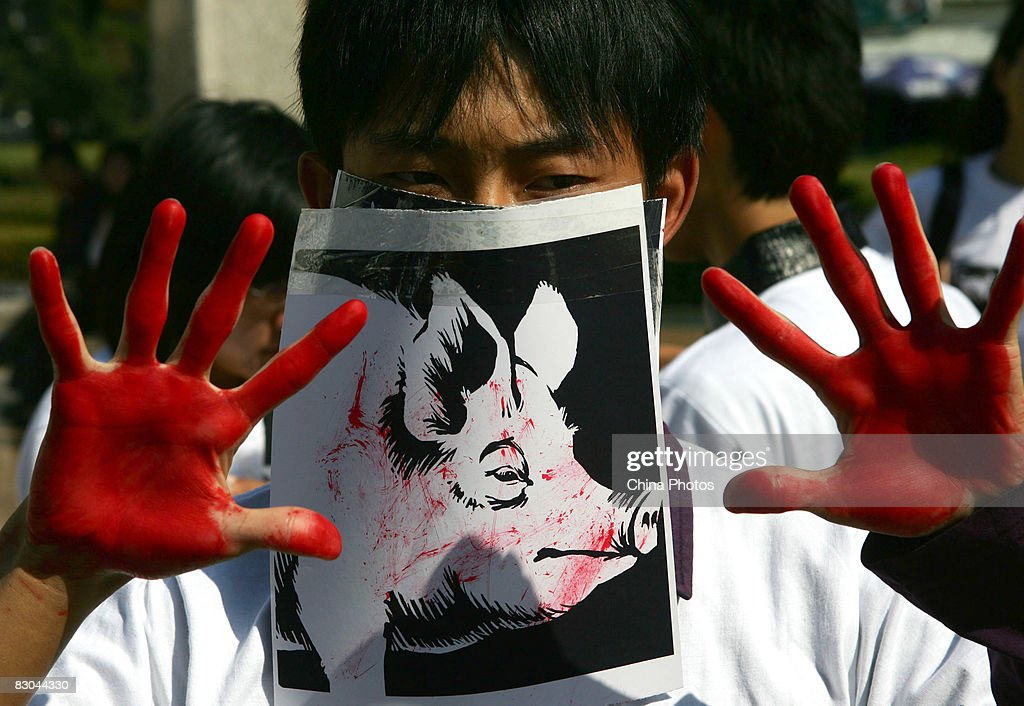 A student acts as a slaughtered pig during a performance art activity to promote animal protection on September 29, 2008 in Changchun of Jilin Province, northeast China. The event is held by Changchun Animal Protection Alliance (CAPA) to appeal for animal rights and welfare, calling on people to eat less meat.