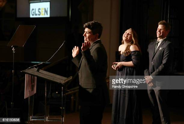 Student Advocate of the Year Edward Estrada student ambassador Madison Miszewski and actor Charlie Carver speak onstage during the 2016 GLSEN Respect...