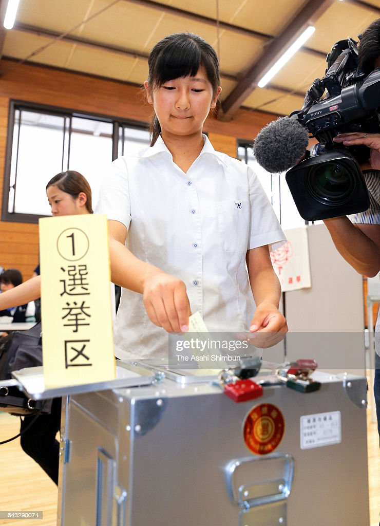 A student aged 18 cast her ballot at an early polling station set at Kashihara High School on June 27, 2016 in Kashihara, Nara, Japan. From the Upper House election, taking place on July 10, the age of voters lowers to 18.