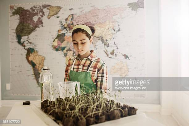 Student and her horticulture project