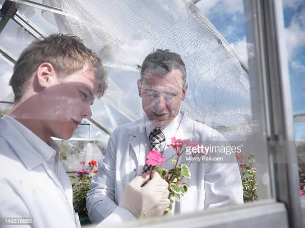 Student and teacher observing flowers in school greenhouse laboratory