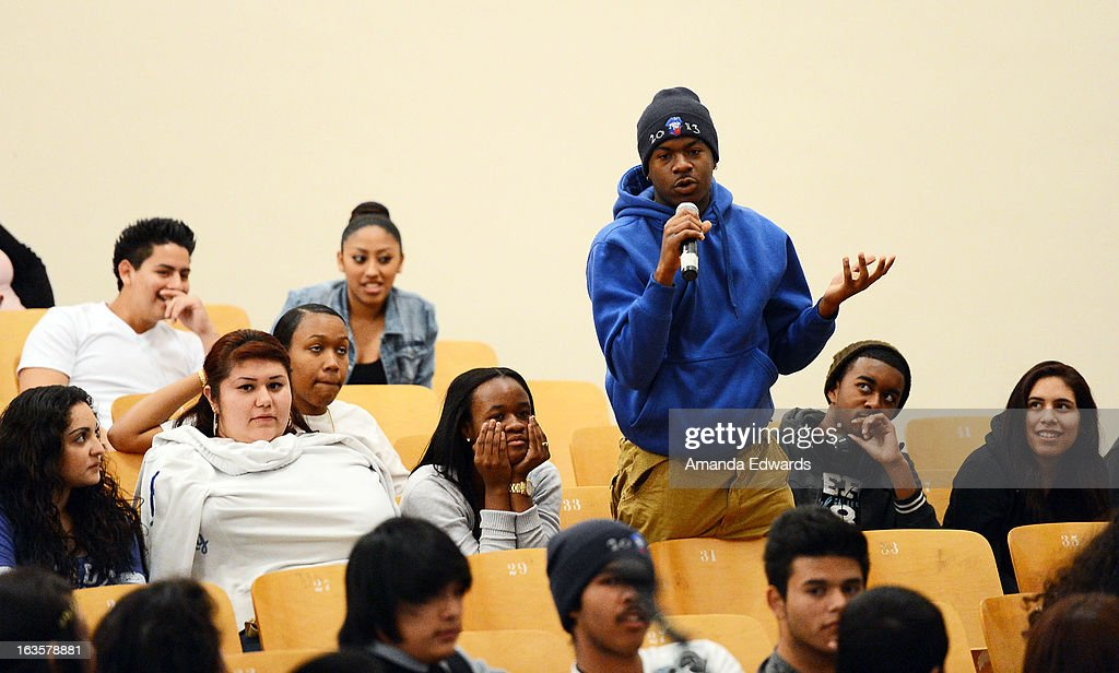 A student asks a question at the BAFTA LA Reality TV Master Class led by Rob Bagshaw at George Washington Preparatory High School on March 12, 2013 in Los Angeles, California.
