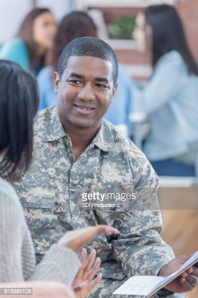 Student asks military recruiter questions about enlistment
