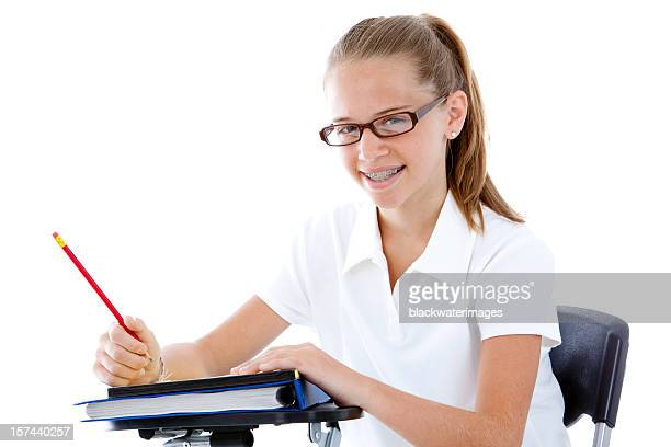 Student at her desk