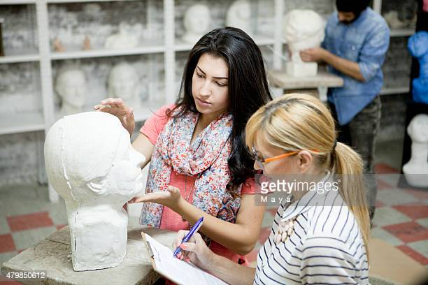 Student at sculpting classes and workshops