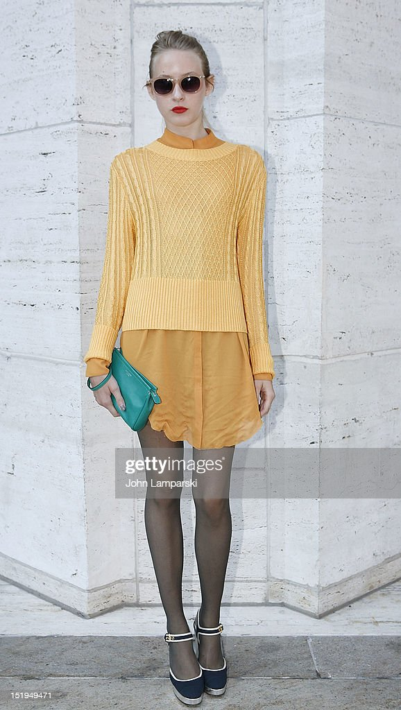 Student Audrey Rese is seen wearing a top by and skirt by Acne, bag by Coach and shoes by MiuMiu on the Streets of Manhattan on September 12, 2012 in New York City.