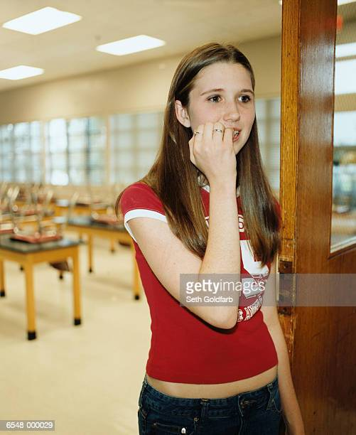 Student Biting her Fingernails