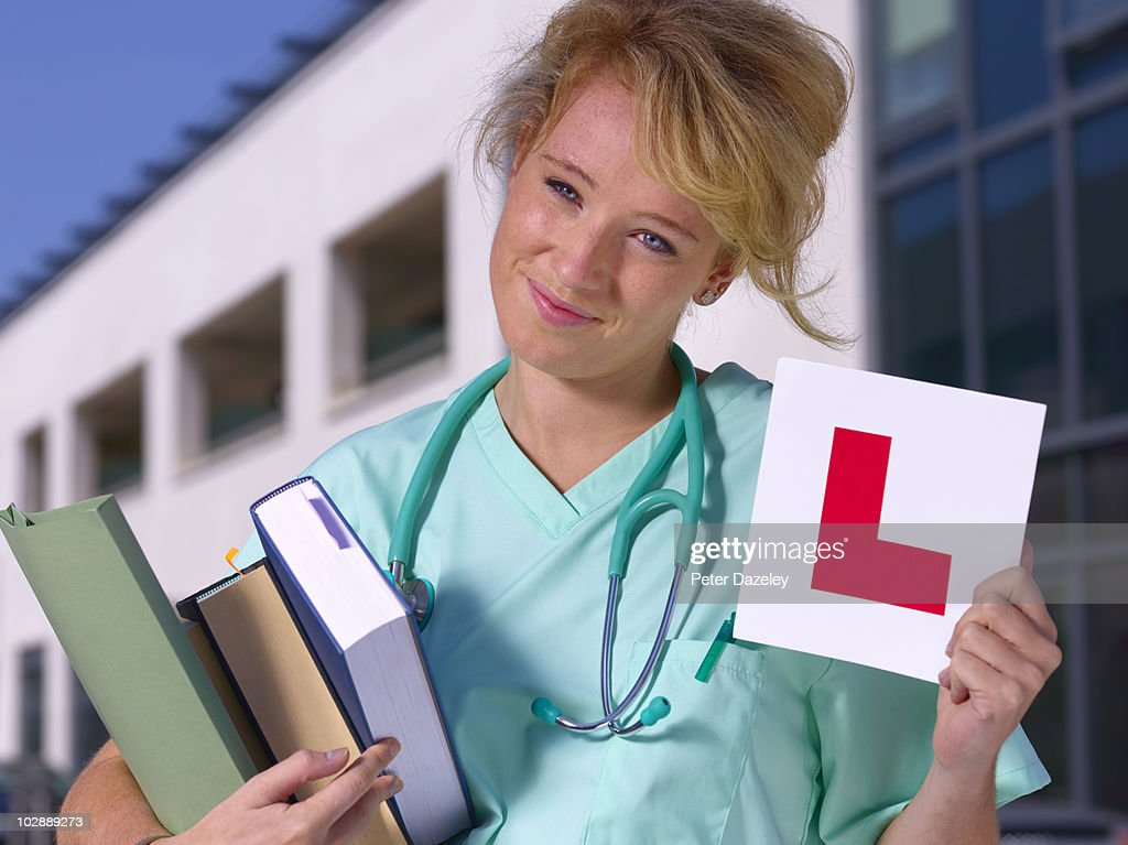Student doctor with learner plate : Stock Photo