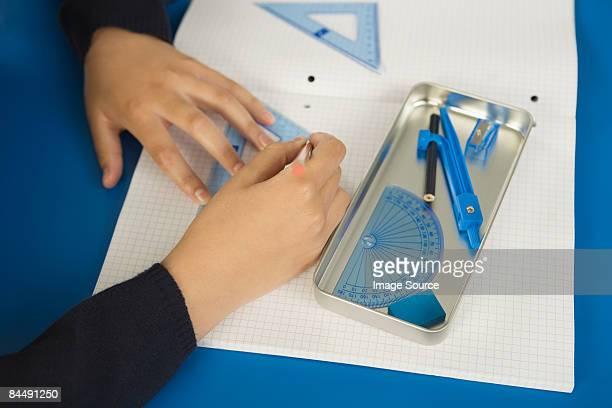 Student doing geometry