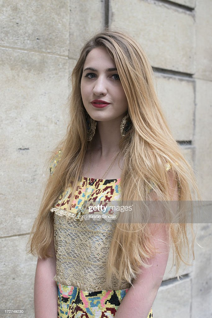 Student Elisa Bourdoin wears a Manoush dress on day 3 of Paris Collections: Womens Haute Couture on July 03, 2013 in Paris, France.